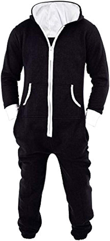 Lu's Chic Men's Hooded Onesie Playsuit Warm Winter Fleece Non Footed Jumpsuit Long Loungwear