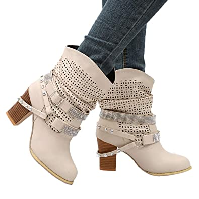 Amazon.com | Shybuy Women Fashion Slouchy Faux Leather Booties Casual Rivets Buckle Hollow Out Slip on Block Heel Ankle Boots | Ankle & Bootie