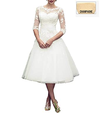5c95e1d480 YAXIU Women s Wedding Dresses 3 4 Sleeve Bride Gown Short Tea Length  Vintage Lace A
