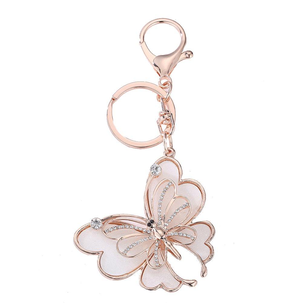 Diamondo Rhinestone Butterfly Keychain Women Bag Backpack Charm Car Key Accessories