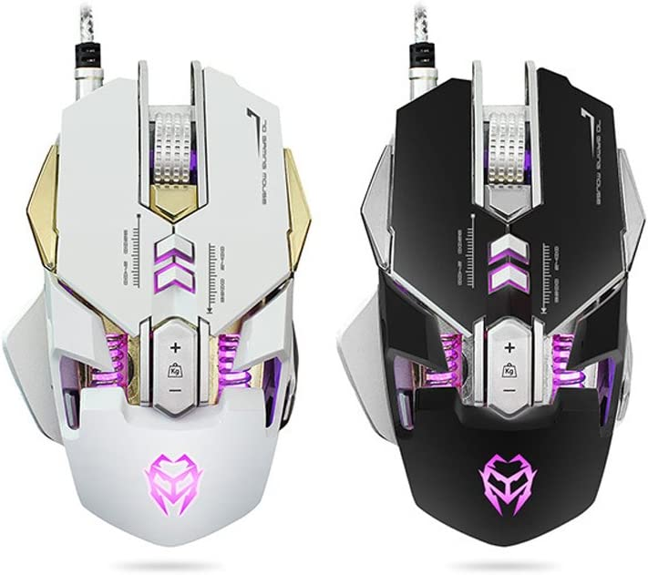 Adjustable Weight Ergonomic Optical Mouse Color : White 4 Level Adjustable DPI Breathing Light Programmable Macros Hemengjuan Gaming Mouse Wired
