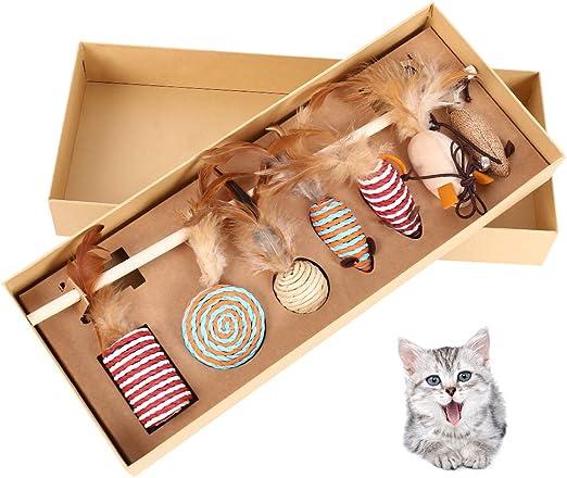 IrazaJuguetes Interactivos Varita de Madera para Gatos con Plumas de Gato 7 Piezas Natural, con Caja de Regalo (B): Amazon.es: Productos para mascotas