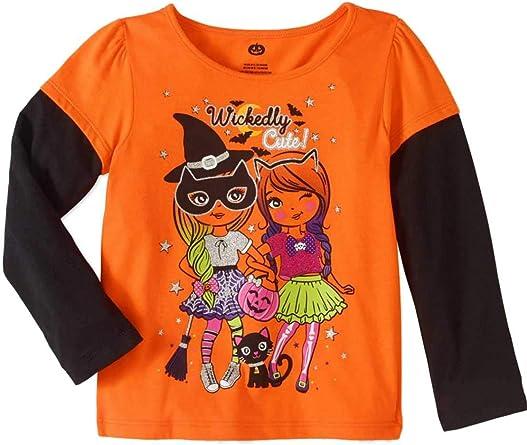 New Awesome Kids Orange Short Sleeve T-shirt Halloween Print Toddler Unisex Clothes Kids Outfit Twins Gift Boys Girls T-shirt Halloween Gift