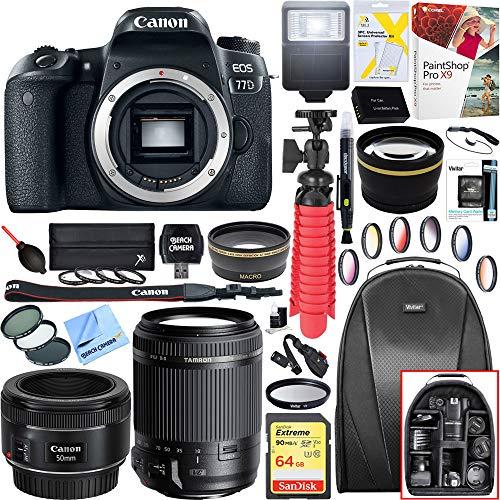 Canon EOS 77D 24.2 MP CMOS (APS-C) DSLR Camera (Body) w/Wi-Fi & Bluetooth w/Tamron 18-200mm Di II VC All-in-One Zoom Lens EF 50mm f/1.8 STM Prime Lens Plus 64GB Accessory Bundle