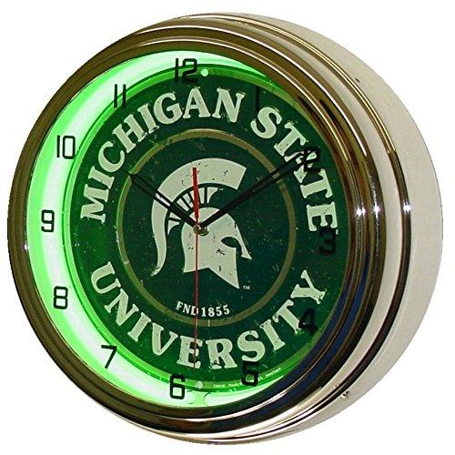 Michigan State University Logo Sign Neon Lighted Wall Clock Chrome Green ()