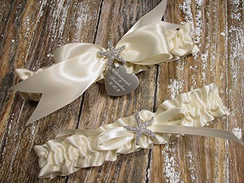 Ivory Beach Wedding Garter Set with Rhinestone Starfish and Personalized Engraving ()