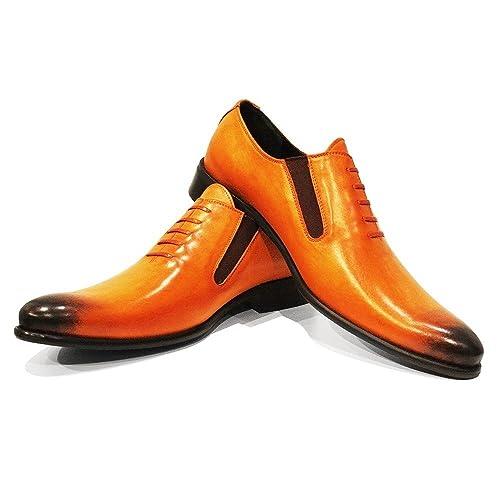Modello Orino - Handmade Italian Mens Orange Moccasins Loafers - Cowhide Hand Painted Leather - Slip-On