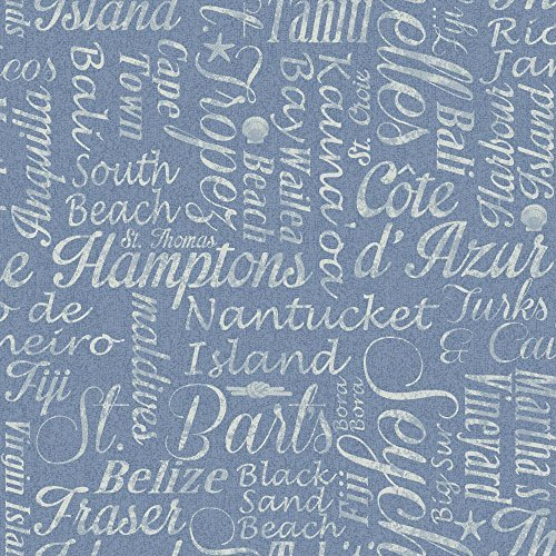York Wallcoverings NY4826 Nautical Living Luxury Beaches Wallpaper, Chambray Blue/Bluish White by (Chambray Wallpaper)