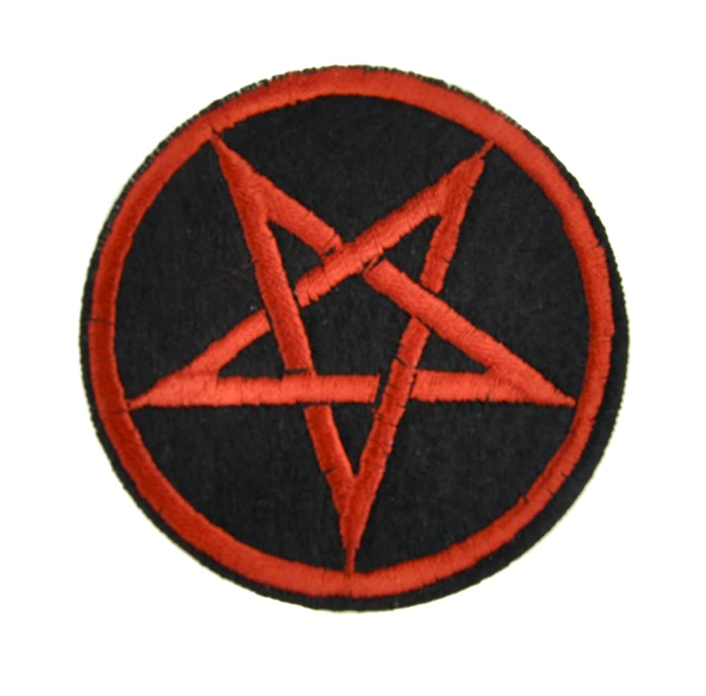 Red Inverted Pentagram Patch Iron on Applique Occult Clothing Death Metal Evil
