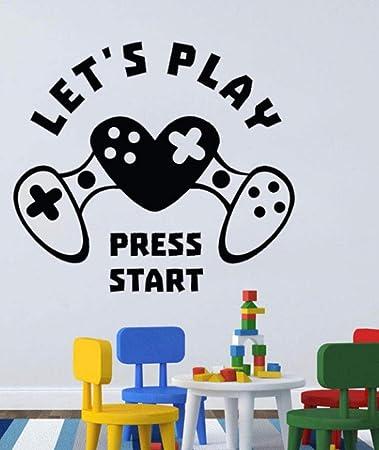 Pegatinas De Pared Gamer Tatuajes De Pared LetS Play Press Start ...
