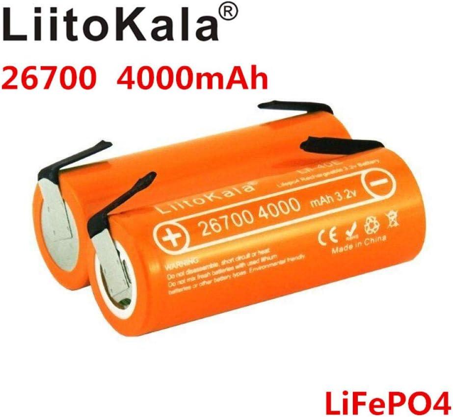 Lii-40E 3.2V 26700 batería Recargable LiFePO4 batería de Litio 4000mah para Bicicleta eléctrica 24V + DIY Nickel sheet-2pcs: Amazon.es: Electrónica