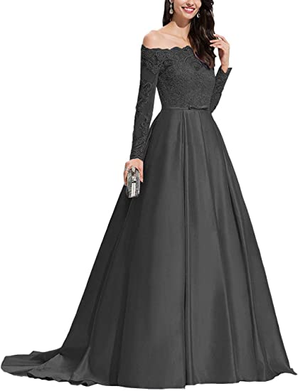 Off Shoulder Satin Long Formal Dresses