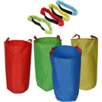 Potato Sack Race Bags (4 Pack) with 3-Legged Race Bands (4 Pack) - Premium Oxford Fabric & Bright Color - Popular Party…