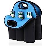 Hipiwe 6 Pack Neoprene Beer Bottle Sleeve Carrier Insulated Beer Cooler Holder Beer Can Tote Bag Keeps Drinks Cold for Milk,Baby Bottle,Beverage,Beer Cooler Bag