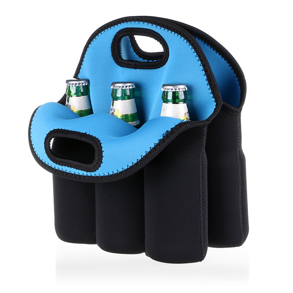 Hipiwe 6 Pack Bottle Can Carrier Tote Insulated Neoprene Baby Bottle Cooler Bag Water Beer Bottle Holder for Travel with Secure Carry Handle by Hipiwe