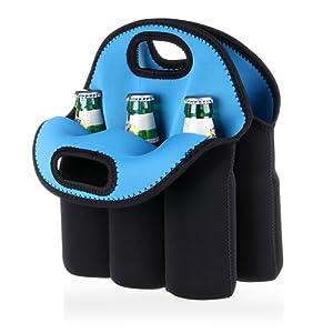 Btsky 6 bouteilles Sac de transport en néoprène isotherme Sac de transport pour bouteille de bière bébé canettes boissons