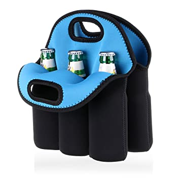 76ce01bb1c Amazon.com   Hipiwe 6 Pack Bottle Can Carrier Tote Insulated Neoprene Baby  Bottle Cooler Bag Water Beer Bottle Holder for Travel with Secure Carry  Handle   ...