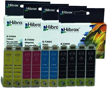 Hibrox Pack de 10 Cartuchos de Tinta Compatible Con Epson 4x T2991 negro 2x T2992 cian