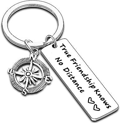 Friends Gift Keychain True Friendship Knows No Distance for Long Distance Friends Friendship Keyring
