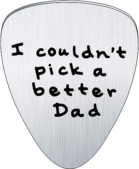 Púa de guitarra Bespmosp en acero inoxidable con inscripción para el Día del Padre, texto en inglés