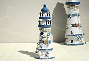 """ChezMax Wooden Lighthouse High Nautical Themed Rooms Lighthouse Home Decor 9.1"""""""