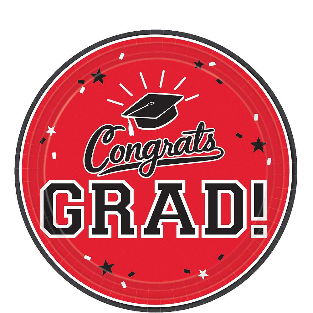 Party City Red Congrats Grad 2019 Graduation Party Supplies for 36 Guests with Banner, Tableware and Balloons by Party City (Image #2)