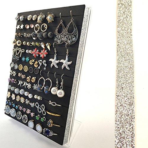 Stud or Hook Earring Holder, Acrylic Earring Stand, Silve...