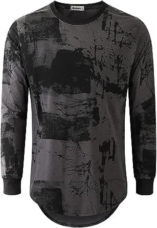 KLIEGOU Mens Hipster Hip Hop Ripped Round Hemline Pattern Print T Shirt