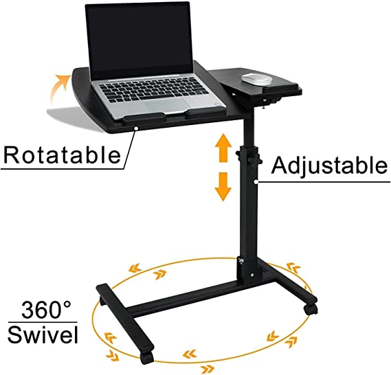 HomGarden Portable Height Adjustable 360° Swivel Laptop Notebook Desk Table Stand Holder Home Office PC Computer Mobile Laptop w/Wheels