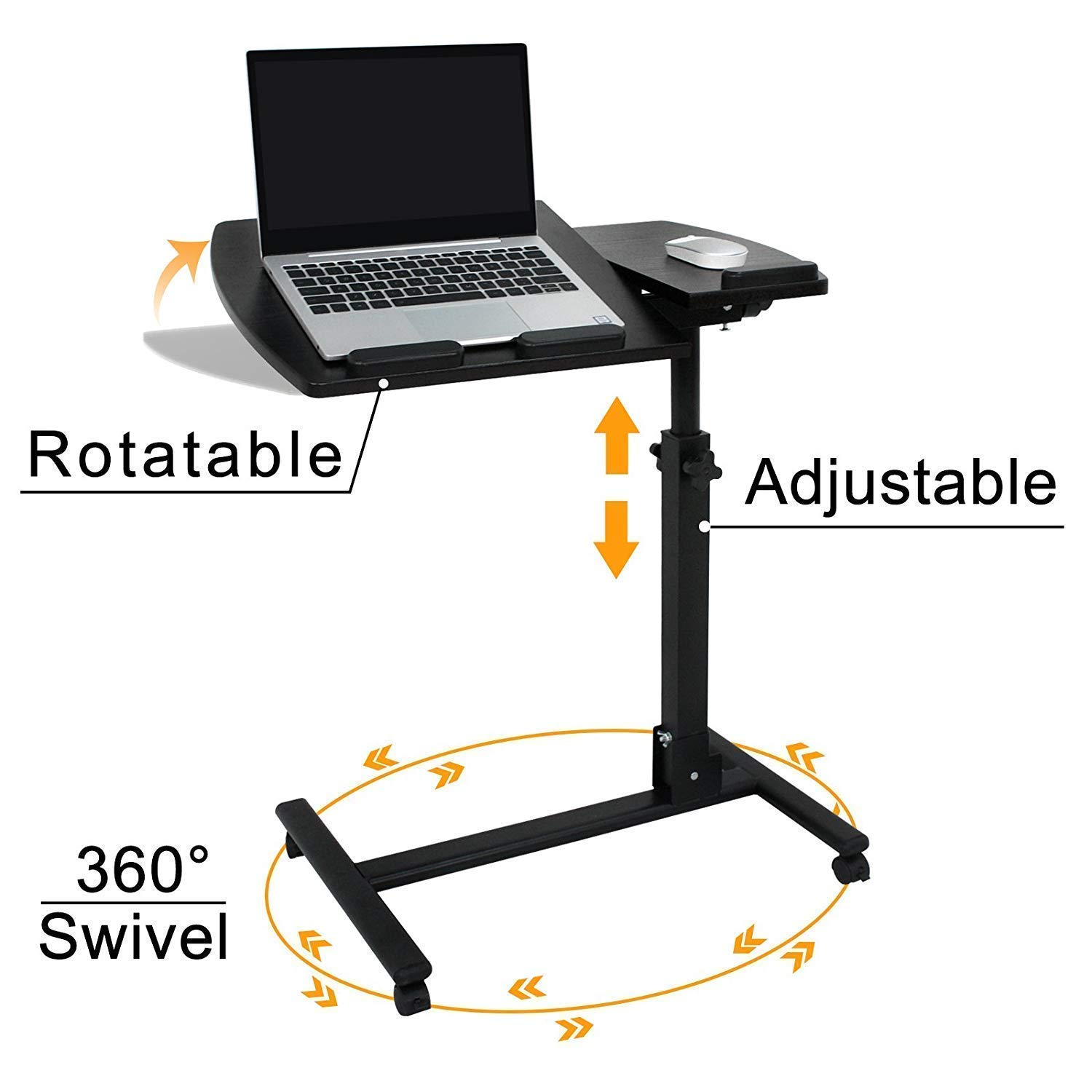 HomGarden Portable Height Adjustable 360° Swivel Laptop Notebook Desk Table Stand Holder Home Office PC Computer Mobile Laptop w/Wheels, Black