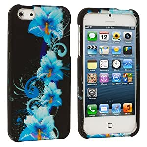 Accessory Planet(TM) Blue Flower Hard Snap-On Design Rubberized Case Cover Accessory for Apple iPhone 5 / 5S by lolosakes