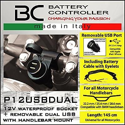 BC Battery Controller 710-P12USBDUAL Prise 12V Allume Cigare /Étanche avec Support Universel au Guidon pour Moto Double Chargeur//Adapteur USB Extractible