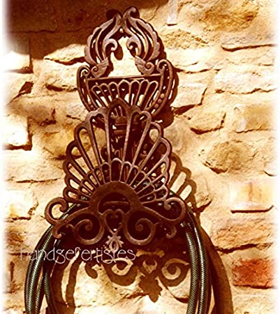 Antikas - portamanguera de pared de hierro fundido - soporte manguera de riego jardín - portamanguera decorativa: Amazon.es: Jardín