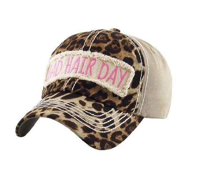1d6057252a76c AH Adjustable Bad Hair Day Distressed Look Western Cowgirl Hat Cap Jp (Cheetah  Leopard Beige