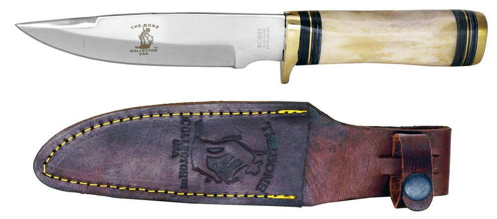 10'' Bone Collector USA Knife Full tang blade is handmade from highly polished 440 stainless steel with free leather sheath