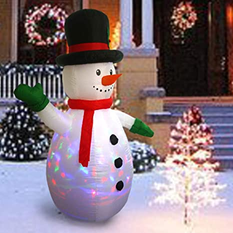 Outdoor Snowman Christmas Decorations.Sunlit 6ft Kaleidoscope Lightshow Colorful Lights Airblown Snowman Christmas Inflatable Lighted Yard Decoration With Blower And Adaptor For Indoor