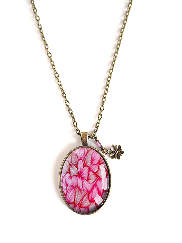fiori ovale floreale bronzo fiori pendente cabochon collana rosa