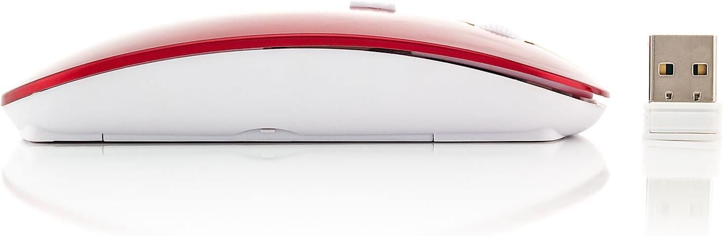 Saxonia Souris sans fil 2.4 GHz, Mobile Optique Wireless Mouse 3 Boutons, Ultra Slim avec Récepteur USB Noir Rouge