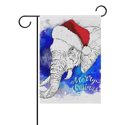 dozili flag christmas elephant home decoration garden flag weather resistant double sided yard flag - Christmas Elephant Outdoor Decoration