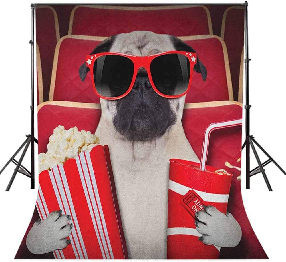 9x16 FT Pug Vinyl Photography Backdrop,Funny Dog Watching Movie Popcorn Soft Drink and Glasses Animal Photograph Print Background for Baby Birthday Party Wedding Studio Props Photography