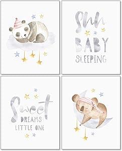 Confetti Fox Sweet Dreams Animals Nursery Wall Art Decor - 8x10 Unframed Set of 4 Prints - Gender Neutral Boy Girl Sleeping Baby Quotes - Stars Moon Panda Koala