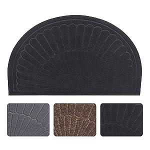Half Round Door Mat Entrance Rug Floor Mats, Waterproof Floor Mat Shoes Scraper Doormat, 18''x30'' Patio Rug Dirt Debris Mud Trapper Out Door Mat Low Profile Washable Carpet (Black)