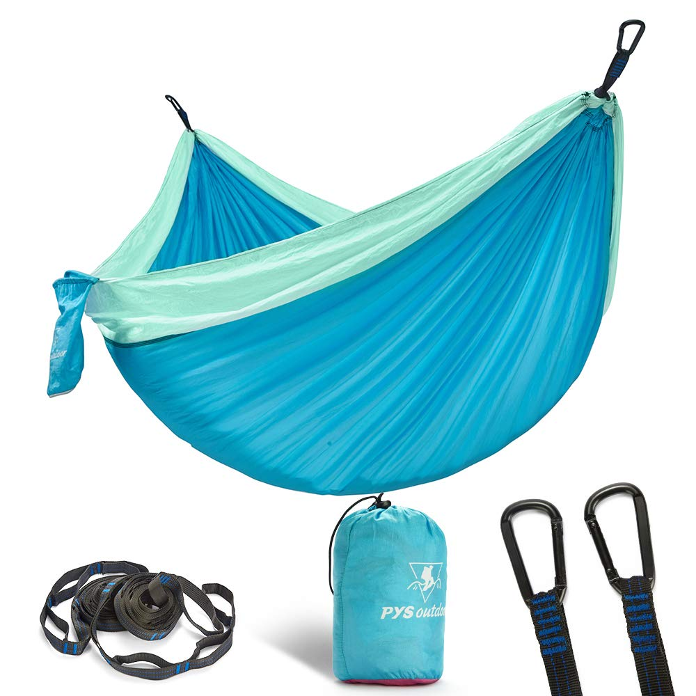 pys Double Portable Camping Hammock with Straps Outdoor -Nylon Parachute Hammock with Tree Straps Set with Max 1200 lbs Breaking Capacity, for Backpacking, Hiking, Travel (Lake Blue+Light Green)