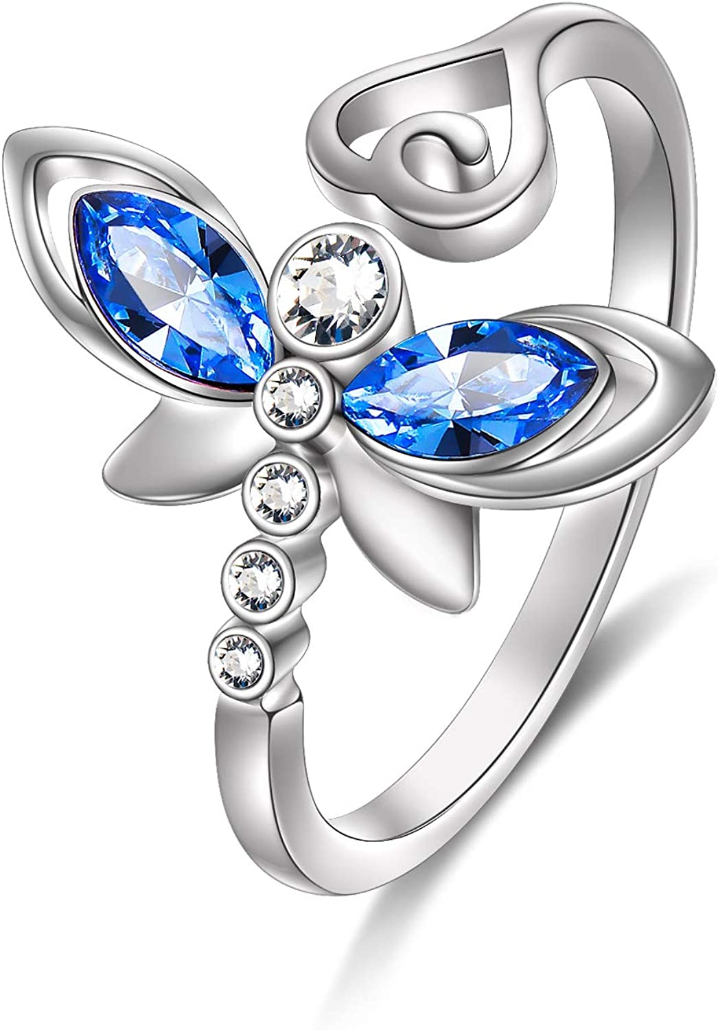 AOBOCO Sterling Silver Dragonfly Adjustable Open Ring, Crystals from Austria, Adorable Insects in My Little Garden Series, Fine Jewelry Gifts for Women