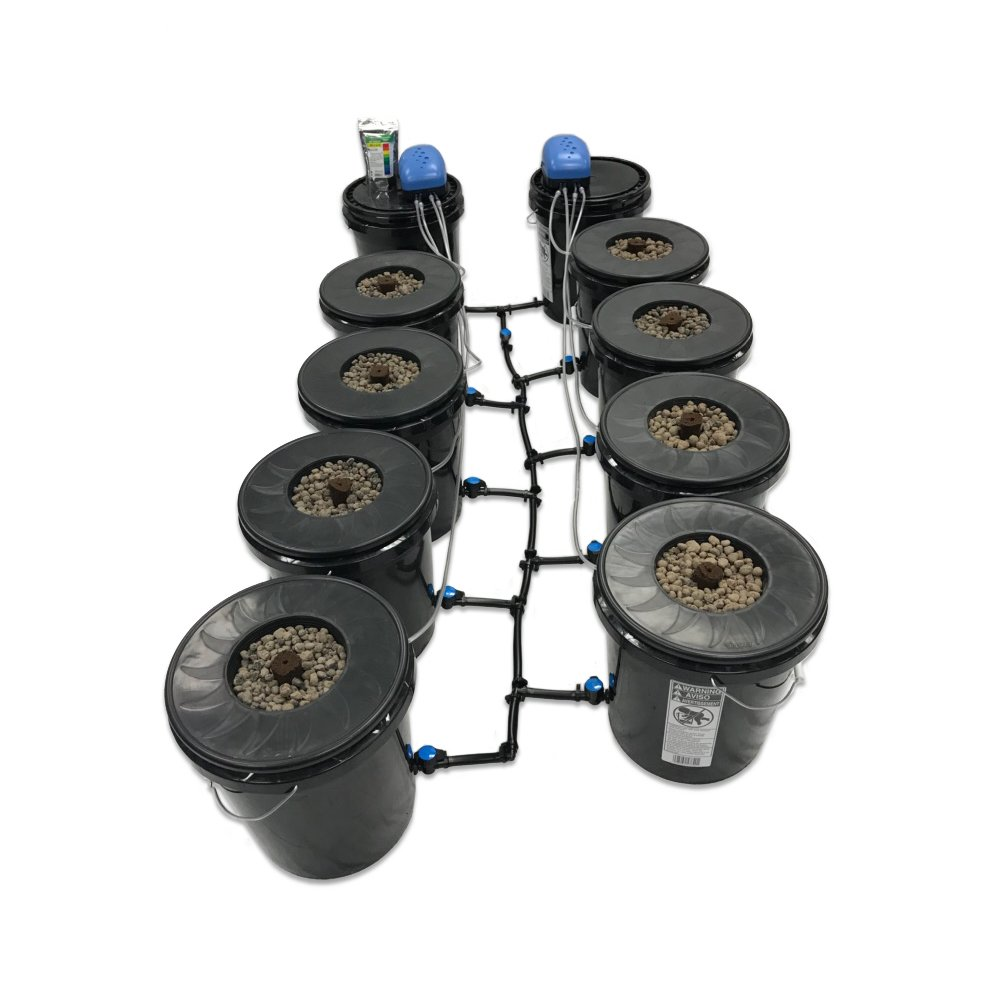 Viagrow Black Bucket Deep Water Culture System, 8 pack by Viagrow