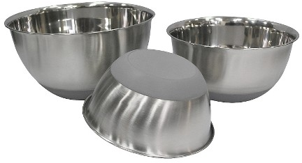 Stainless Steel Non Skid Mixing Bowl Set of 3 - Threshold™ : Target