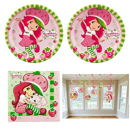 Strawberry Shortcake birthday Party Supplies - 16 guests - plates, napkins, swirl decorations ()