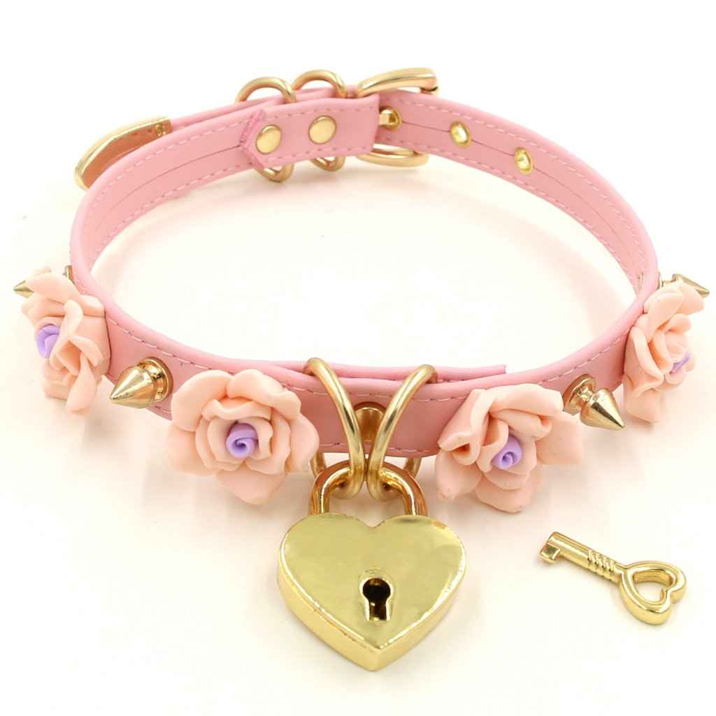 Handmade Clay Flowers Spikes Heart Lock Faux Leather Choker Collar (Pink with gold alloy)