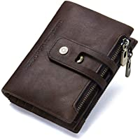 Hiram Retro Genuine Leather Men's Wallet Zipper Coin Purse with Card Slots Bifold Large Capacity Short Wallet (Coffee)