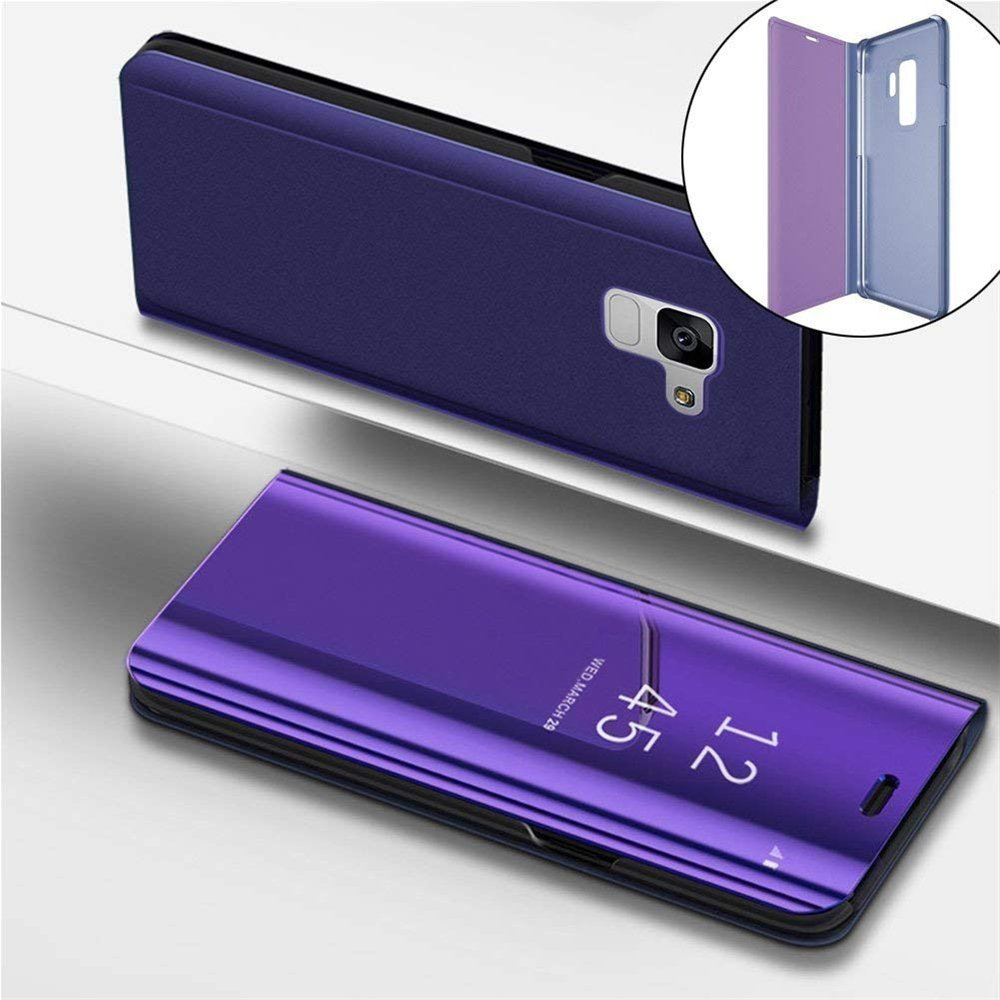 HMTECH Samsung Galaxy S7 Edge case Design Clear View Slim Luxury Shiny Electroplate Plating Mirror Full Body Protective Flip Folio Stand Cover for Samsung Galaxy S7 Edge PU Mirror:Purple MX